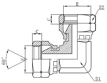 BSP ქალი Elbow Adapter Drawing