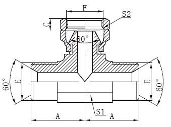 BSP Hydraulic Tee Drawing