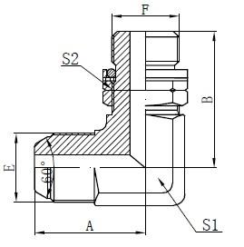 BSP O-ring რეგულირებადი Stud Drawing