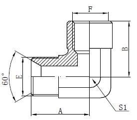 Elbow BSP Adapter ფურნიტურა ნახატი